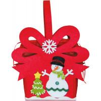 Новогодний подарок Снеговичок у елки (фетр)