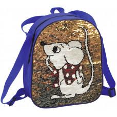 Рюкзак с пайетками (текстиль, мышь)