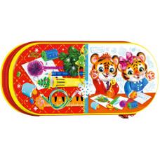 Новогодний подарок Пенал для детей (тигр, жесть)