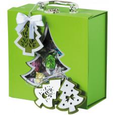 Чемоданчик зеленый из переплетного картона