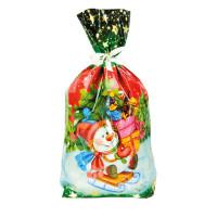 Новогодний подарок Пакет Снеговик на санках (мешочек)