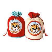 Новогодний подарок Тигренок в окошке (тигр, текстиль)