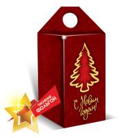 Коробка кубик-елочка (красная)
